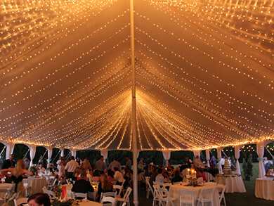 Mini lights add a magical, ambient light to weddings